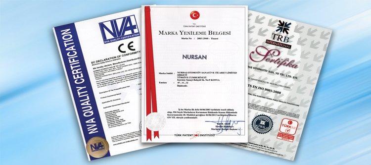 Nursan Stator Kalitesini yetkili kurluşlara sertifiye ettirerek belgelendirmistir.